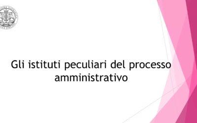 Gli istituti peculiari del processo amministrativo