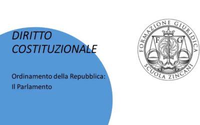 Ordinamento della Repubblica – Il Parlamento