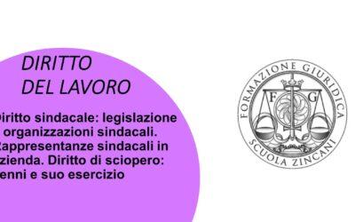 Diritto Sindacale: legislazione e organizzazioni sindacali. Rappresentanze sindacali in azienda. Diritto di sciopero: cenni e suo esercizio